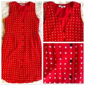 Madewell cute buttoned red dress w/ white flowers
